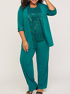 cheap Plus Size Dresses-Pantsuit / Jumpsuit Mother of the Bride Dress Plus Size See Through Jewel Neck Floor Length Polyester 3/4 Length Sleeve with Appliques Ruching 2020