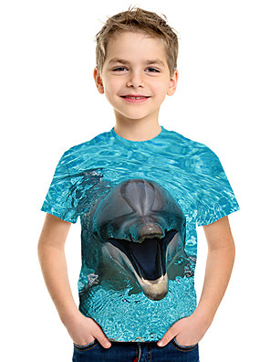 cheap Boys' Tops-Kids Boys' Active Street chic 3D Print Short Sleeve Tee Blue