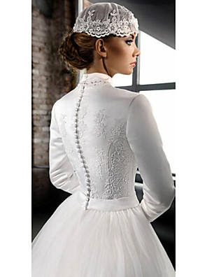 cheap Wedding Dresses-A-Line Wedding Dresses High Neck Court Train Lace Tulle Long Sleeve Country with 2020