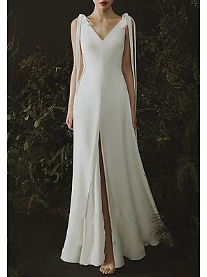 cheap Prom Dresses-Mermaid / Trumpet Wedding Dresses V Neck Sweep / Brush Train Satin Cap Sleeve Formal Plus Size with Draping 2020
