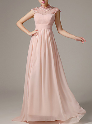 cheap Bridesmaid Dresses-A-Line Beautiful Back Pink Engagement Formal Evening Dress V Neck Sleeveless Floor Length Polyester with Pleats Crystals 2020