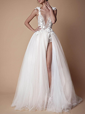 cheap Wedding Dresses-A-Line Wedding Dresses V Neck Sweep / Brush Train Lace Tulle Spaghetti Strap Formal Boho Plus Size with Draping Lace Insert Appliques 2020