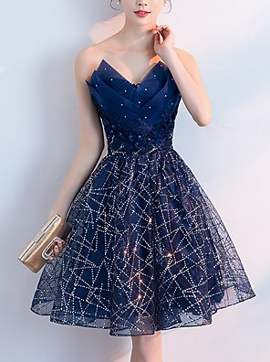 cheap Evening Dresses-A-Line Sparkle Blue Homecoming Cocktail Party Dress Strapless Sleeveless Short / Mini Polyester with Crystals Sequin 2020
