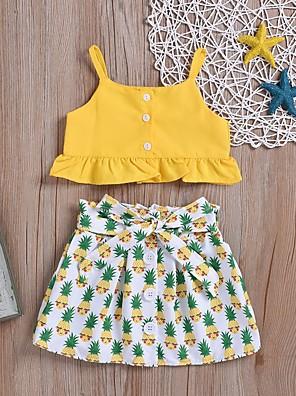 cheap Girls' Dresses-Kids Girls' Basic Fruit Sleeveless Clothing Set Yellow