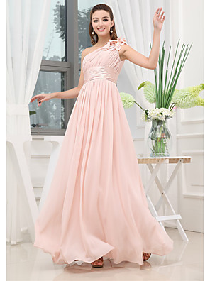 cheap Evening Dresses-A-Line Elegant Wedding Guest Engagement Prom Dress One Shoulder Sleeveless Floor Length Chiffon with Pleats Ruched 2020