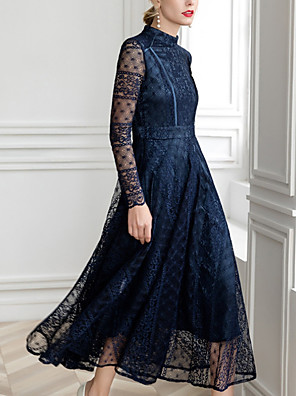 cheap Prom Dresses-A-Line Mother of the Bride Dress Elegant Jewel Neck Ankle Length Lace Long Sleeve with Lace 2020