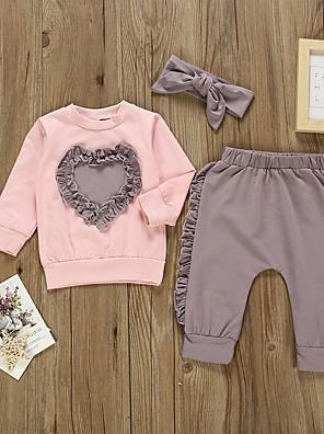 cheap Baby Girls' One-Piece-Baby Girls' Basic Color Block Long Sleeve Regular Clothing Set Purple / Toddler
