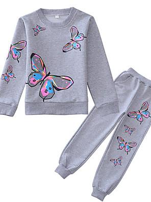 povoljno Majice s kapuljačama i trenirke za djevojčice-Djeca Djevojčice Osnovni Geometrijski oblici Dugih rukava Komplet odjeće Blushing Pink