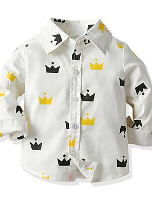 cheap Boys' Tops-Kids Toddler Boys' Basic Street chic Geometric Long Sleeve Shirt White
