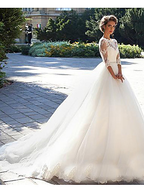 cheap Wedding Dresses-A-Line Wedding Dresses Off Shoulder Court Train Lace 3/4 Length Sleeve Casual Beach Vintage Illusion Sleeve with 2020