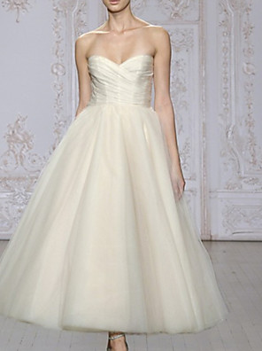 cheap Wedding Dresses-A-Line Strapless Ankle Length Lace / Tulle Strapless Formal Cute Wedding Dresses with Draping 2020