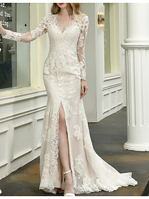 cheap Wedding Dresses-Mermaid / Trumpet Wedding Dresses V Neck Sweep / Brush Train Lace Tulle Long Sleeve Casual Plus Size Illusion Sleeve with Appliques Split Front 2020