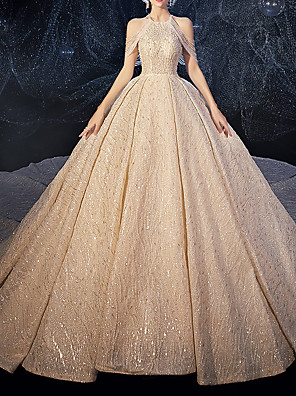 cheap Wedding Dresses-Ball Gown Wedding Dresses Halter Neck Watteau Train Lace Tulle Sequined Spaghetti Strap Formal Plus Size with Crystals Lace Insert Embroidery 2020