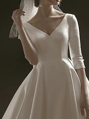 cheap Wedding Dresses-A-Line Wedding Dresses V Neck Sweep / Brush Train Satin Half Sleeve Formal Vintage Plus Size Elegant with Draping 2020