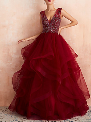 cheap Prom Dresses-A-Line Wedding Dresses V Neck Floor Length Lace Tulle Sleeveless Formal Red with Beading Appliques 2020