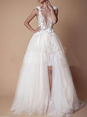 cheap Wedding Dresses-A-Line Wedding Dresses V Neck Floor Length Lace Tulle Cap Sleeve Formal Boho Plus Size with Lace Insert Appliques Split Front 2020