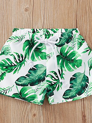 cheap Boys' Tops-Kids Boys' Print Swimwear Green