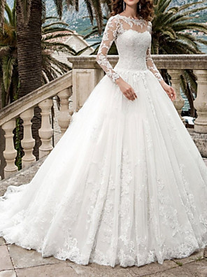 cheap Wedding Dresses-A-Line Wedding Dresses Jewel Neck Sweep / Brush Train Tulle Long Sleeve Formal Illusion Sleeve with Draping Appliques 2020