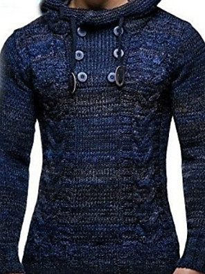 cheap Men's Pants & Shorts-Men's Solid Colored Pullover Long Sleeve Sweater Cardigans Hooded Wine Blue Khaki