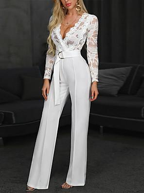 cheap Evening Dresses-Women's Sophisticated White Jumpsuit Onesie, Solid Colored Lace S M L