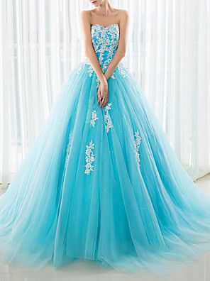 cheap Special Occasion Dresses-A-Line Floral Blue Prom Formal Evening Dress Strapless Sleeveless Court Train Polyester with Appliques 2020