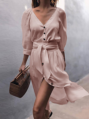 cheap Women's Blouses & Shirts-Women's Sheath Dress - Long Sleeve Solid Colored Spring & Summer V Neck Elegant Slim 2020 White Blushing Pink Gray S M L XL