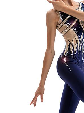 cheap Gymnastics-21Grams Rhythmic Gymnastics Leotards Artistic Gymnastics Leotards Women's Girls' Leotard Dark Blue Spandex High Elasticity Breathable Handmade Jeweled Diamond Look Long Sleeve Training Dance Rhythmic