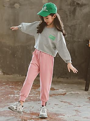 cheap Girls' Dresses-Kids Girls' Basic Solid Colored Long Sleeve Clothing Set Blushing Pink