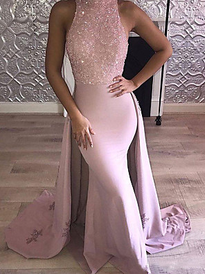 cheap Prom Dresses-Mermaid / Trumpet Luxurious Pink Engagement Formal Evening Dress Halter Neck Sleeveless Court Train Stretch Satin with Beading Overskirt 2020