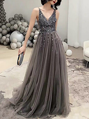 cheap Prom Dresses-A-Line Elegant Holiday Formal Evening Dress V Neck Sleeveless Sweep / Brush Train Polyester with Crystals 2020