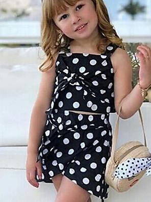 cheap Girls' Dresses-Kids Girls' Basic Polka Dot Sleeveless Clothing Set Black