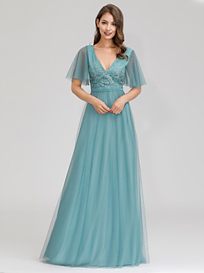 cheap Evening Dresses-A-Line Plunging Neck Floor Length Tulle Bridesmaid Dress with Appliques / Butterfly Sleeve