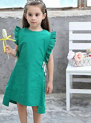 cheap Girls' Dresses-Kids Girls' Solid Colored Dress Green