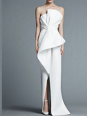 cheap Evening Dresses-Sheath / Column Wedding Dresses Strapless Floor Length Satin Strapless Formal Plus Size Modern Elegant with Draping 2020