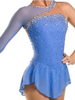 cheap Ice Skating Dresses , Pants & Jackets-Figure Skating Dress Women's Girls' Ice Skating Dress Sky Blue Patchwork Spandex High Elasticity Training Competition Skating Wear Crystal / Rhinestone Long Sleeve Ice Skating Figure Skating