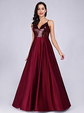cheap Prom Dresses-A-Line Sparkle Red Prom Formal Evening Dress Spaghetti Strap Sleeveless Floor Length Satin with Sequin 2020