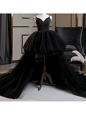cheap Wedding Dresses-A-Line Wedding Dresses V Neck Asymmetrical Lace Tulle Spaghetti Strap Formal Plus Size Black Red with Draping Lace Insert 2020