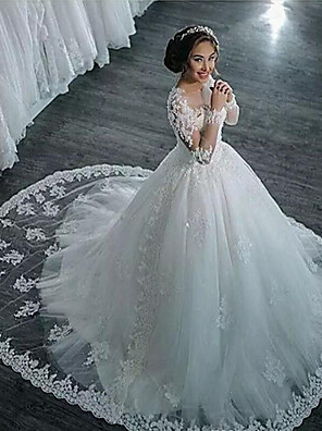 cheap Wedding Dresses-A-Line Wedding Dresses High Neck Court Train Lace Long Sleeve Country Glamorous Backless Illusion Sleeve with 2020 / Bishop Sleeve