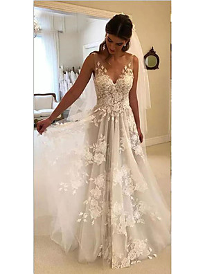 cheap Wedding Dresses-A-Line Wedding Dresses V Neck Court Train Lace Regular Straps Formal Casual Beach with 2020