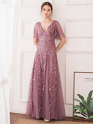cheap Evening Dresses-A-Line Elegant Floral Wedding Guest Engagement Prom Dress V Neck Short Sleeve Floor Length Tulle with Sequin 2020