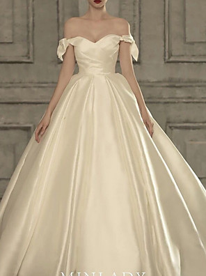 cheap Wedding Dresses-A-Line Strapless Court Train Satin Cap Sleeve Formal Plus Size Wedding Dresses with Draping 2020