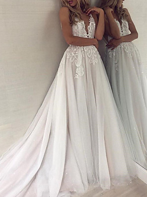 cheap Wedding Dresses-A-Line Wedding Dresses V Neck Court Train Polyester Spaghetti Strap Formal Boho Plus Size with Lace Insert Appliques 2020
