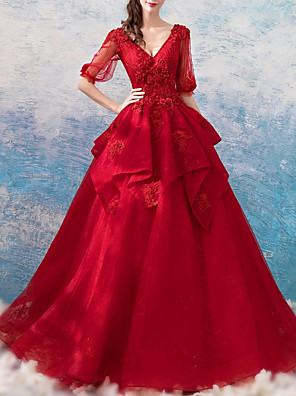 cheap Evening Dresses-Ball Gown Wedding Dresses V Neck Floor Length Polyester Half Sleeve Romantic Plus Size Red with Beading Appliques 2020