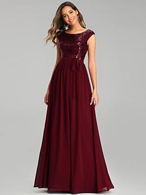 cheap Bridesmaid Dresses-A-Line Jewel Neck Floor Length Chiffon Bridesmaid Dress with Sequin / Sparkle & Shine