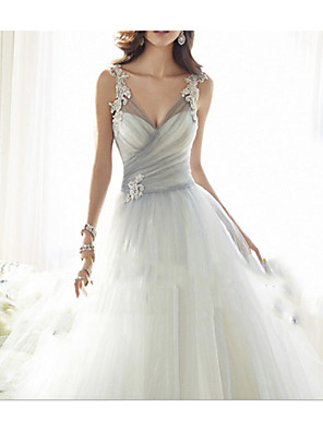 cheap Prom Dresses-A-Line Wedding Dresses V Neck Floor Length Tulle Regular Straps Formal Plus Size with Appliques 2020