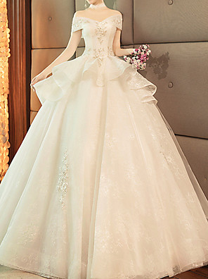 cheap Wedding Dresses-Ball Gown Wedding Dresses Off Shoulder Sweep / Brush Train Lace Tulle Short Sleeve Glamorous Modern with Lace Insert 2020