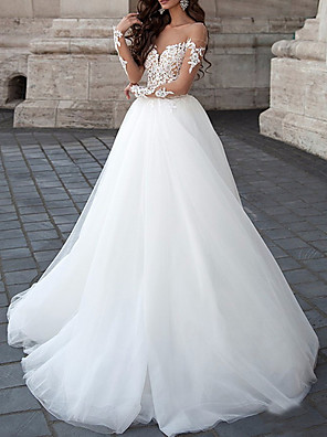 cheap Wedding Dresses-A-Line Wedding Dresses Strapless Floor Length Lace Tulle Long Sleeve Formal Illusion Sleeve with Draping Appliques 2020