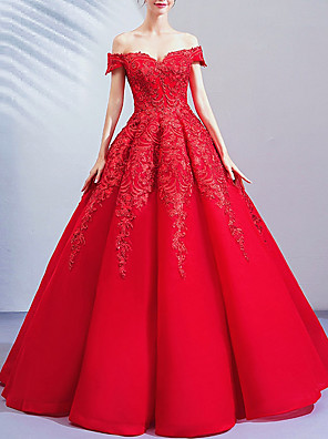 cheap Prom Dresses-Ball Gown Wedding Dresses Off Shoulder Floor Length Lace Cap Sleeve Romantic Plus Size Red with Crystals 2020