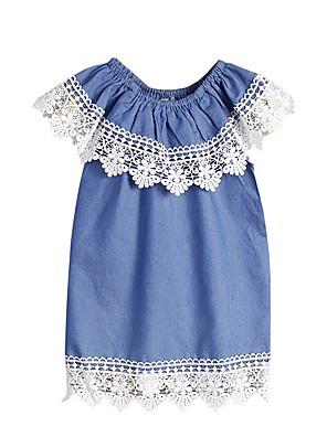 cheap Girls' Dresses-Kids Girls' Solid Colored Dress Blue