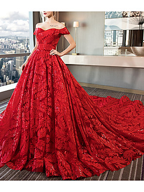 cheap Prom Dresses-A-Line Wedding Dresses Off Shoulder Court Train Sequined Polyester Short Sleeve Romantic Plus Size Red with Beading 2020
